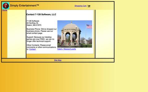 Screenshot of Contact Page 7128.com - 7-128 Software - Contact - captured Oct. 19, 2018