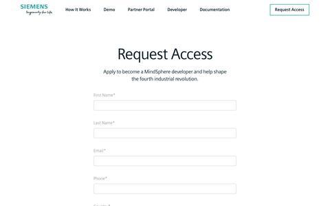Screenshot of Signup Page mindsphere.io - Siemens | MindSphere | Sign Up - captured July 11, 2018