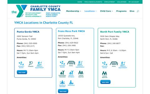 Screenshot of Locations Page charlottecountyymca.com - YMCA Locations in Charlotte County FL | Charlotte County Family YMCA - captured Nov. 4, 2016
