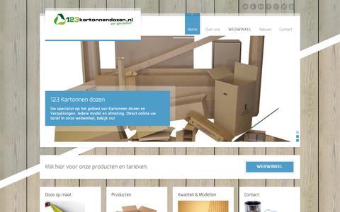 Screenshot of Home Page 123kartonnendozen.nl - 123 Kartonnen Dozen - Uw specialist | Specialist in kartonnen dozen en verpakkingen - captured Dec. 5, 2015