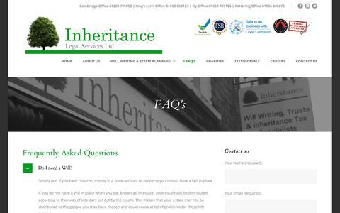 Screenshot of FAQ Page inheritancewills.co.uk - FAQ's   Inheritance Legal Services Ltd   Inheritance Wills   Will Writing & Estate Planning   Cambridgeshire   Essex   Northamptonshire   London - captured Feb. 11, 2016