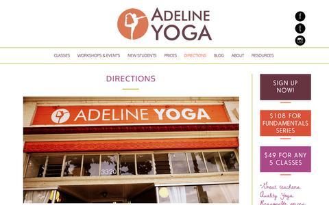 Screenshot of Maps & Directions Page adelineyoga.com - Directions - Adeline Yoga Studio - captured Nov. 2, 2014