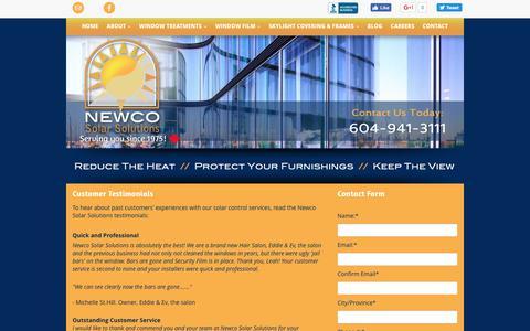 Screenshot of Testimonials Page newcosolarsolutions.ca - Lower Mainland Window Solutions   Testimonials   Newco Solar Solutions - captured June 13, 2017