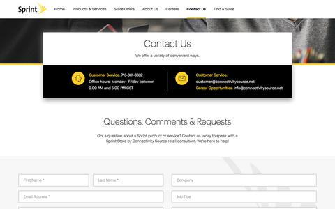 Screenshot of Contact Page sprint.com - Contact Us | Connectivity Source - captured July 21, 2018
