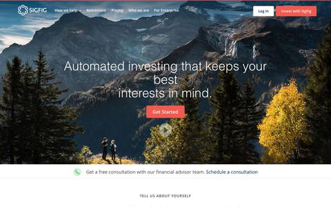 Screenshot of Login Page sigfig.com - The easiest way to manage & improve your investments | Free online personal finance investment software - captured Oct. 18, 2018