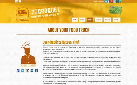 Screenshot of About Page keepontoasting.be - About Keep on Toasting : Jean-Baptiste Nyssen - Keep on Toasting - Food truck in Brussels - captured Sept. 30, 2014
