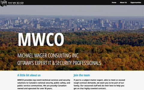 Screenshot of Home Page mwco.ca - MWCO - Michael Wager Consulting | Professional IT & Security Services for Canada's national security and public safety communities - captured Oct. 4, 2014