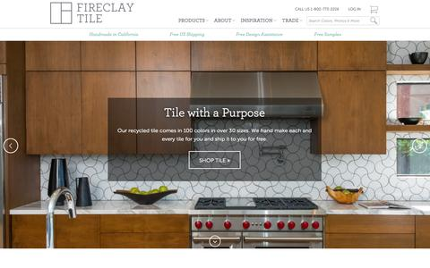 Screenshot of Home Page fireclaytile.com - Handmade Recycled Tile for Residential and Commercial Spaces | Fireclay Tile - captured Jan. 21, 2015