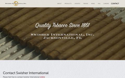 Screenshot of Contact Page swisher.com - Contact - Swisher International, Inc. - captured Oct. 17, 2019