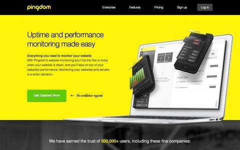 Screenshot of Home Page pingdom.com - Pingdom - Website Monitoring - captured Sept. 19, 2014