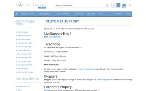 Screenshot of Support Page contactlenses.com.es - Customer Support :: Buy Cheap Contact lenses in Spain :: Buy Cheap Contact lenses in Spain - captured Dec. 1, 2018