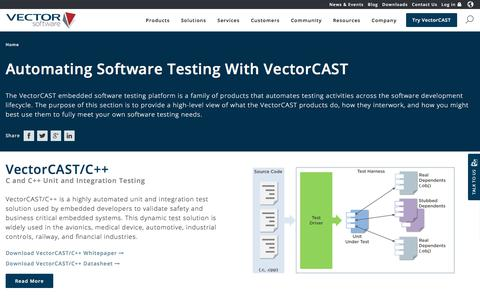 Screenshot of Products Page vectorcast.com - VectorCAST Automated Testing Software | Vector Software - captured Oct. 26, 2017