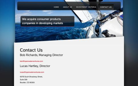 Screenshot of Contact Page openwaterventures.com - Contact Us | Open Water Ventures - captured Sept. 21, 2018