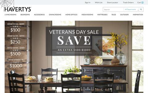 Screenshot of Home Page havertys.com - Welcome to Havertys - captured Oct. 27, 2015