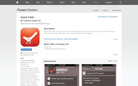 Screenshot of iOS App Page apple.com - Good Todo on the App Store on iTunes - captured Oct. 22, 2014