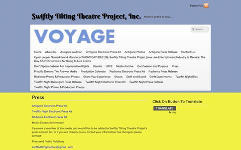 Screenshot of Press Page swiftlytiltingtheatre.org - Press | Swiftly Tilting Theatre Project, Inc. - captured Nov. 16, 2017