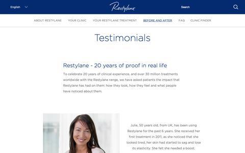 Screenshot of Testimonials Page restylane.com - Testimonials | Restylane - captured Oct. 23, 2018