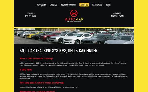 Screenshot of FAQ Page automap.us - FAQ | Car Tracking Systems, OBD & Car Finder - captured Oct. 4, 2018