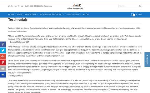 Screenshot of Testimonials Page aviator-sunglasses.net - Read Testimonials From Satisfied Aviator-Sunglasses Customers - captured Nov. 14, 2018