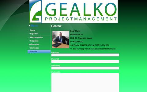 Screenshot of Contact Page gealko.nl - Contact | Gealko BV - captured Oct. 2, 2014