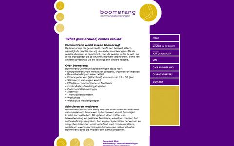 Screenshot of Home Page boomerang-ct.nl - Boomerang Communicatietrainingen - captured Oct. 5, 2014