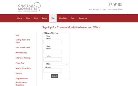 Screenshot of Signup Page thedogs.com - Chateau Morrisette - - captured Nov. 5, 2016
