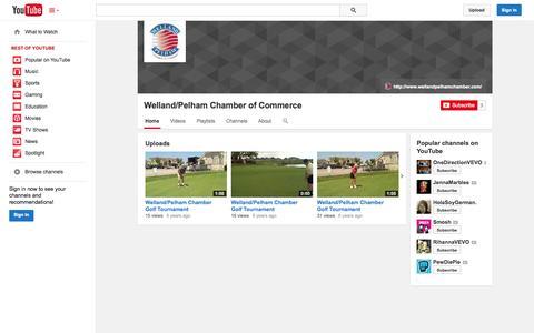 Screenshot of YouTube Page youtube.com - Welland/Pelham Chamber of Commerce  - YouTube - captured Oct. 25, 2014