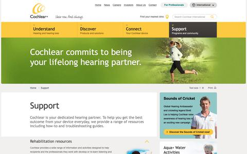 Screenshot of Support Page cochlear.com - Support for Cochlear Devices | Cochlear Intl - captured Sept. 28, 2018