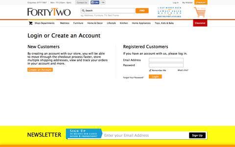 Screenshot of Login Page fortytwo.sg - Customer Login  | Furniture & Appliances | FortyTwo - captured Nov. 4, 2014