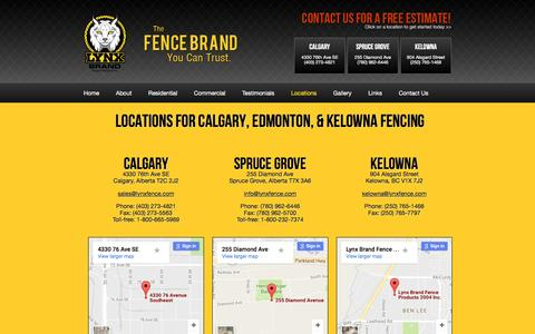 Screenshot of Locations Page lynxfence.com - Kelowna Fencing: Visit our Store Locations for Fencing Materials - captured Nov. 16, 2016
