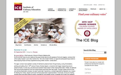 Screenshot of Blog ice.edu - ICE Culinary Blog | The Institute of Culinary Education - captured Sept. 4, 2016