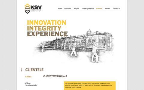 Screenshot of Testimonials Page ksv.co.in - KSV Construction | Since 1948  » Client Testimonials - captured Nov. 3, 2014