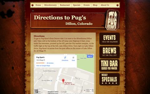Screenshot of Maps & Directions Page pugryans.com - Pug Ryan's Steakhouse & Brewery :: Directions - captured Oct. 3, 2014