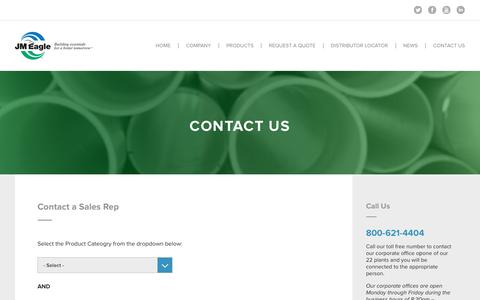 Screenshot of Contact Page jmeagle.com - Contact Us - JM Eagle - captured July 22, 2016