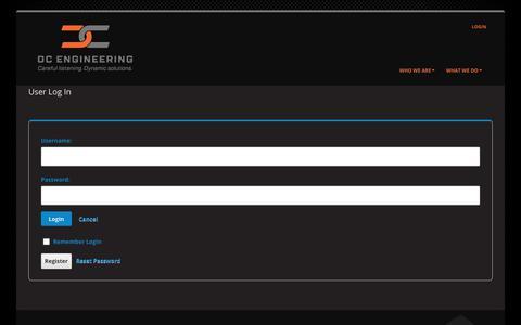 Screenshot of Login Page dcengineering.net - User Log In - captured Aug. 5, 2018