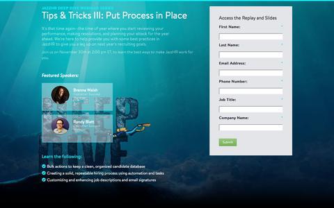 Screenshot of Landing Page jazzhr.com - Deep Dive Webinar Series | JazzHR - captured Sept. 20, 2018