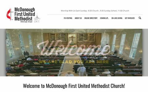 Screenshot of Home Page mcdonoughfumc.com - McDonough First United Methodist Church | Welcome! - captured Nov. 15, 2018