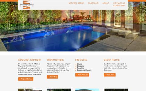 Screenshot of Home Page graniteworks.com.au - Natural Stone and Pavers and Paving Stones | Granite | Bluestone | Travertine - captured Sept. 30, 2014
