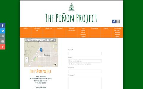 Screenshot of Privacy Page Contact Page pinonproject.org - Contact Us - captured Dec. 1, 2016