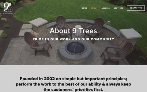 Screenshot of About Page 9treeslc.com - About — 9 Trees Landscape Construction - captured Oct. 18, 2017