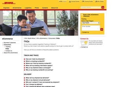 Screenshot of FAQ Page dhl.co.za - DHL | FAQs | English - captured Sept. 24, 2016
