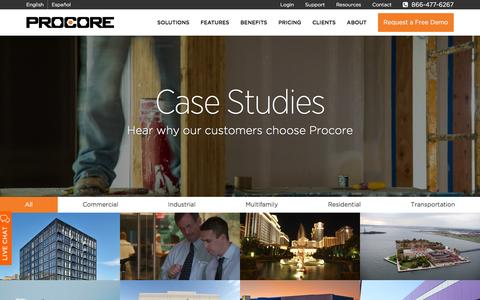 Screenshot of Case Studies Page procore.com - Why clients use Procore Project Management Software - captured Feb. 1, 2016