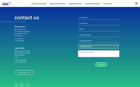 Screenshot of Contact Page bbkworldwide.com - Contact Us           BBK Worldwide - captured Oct. 4, 2018