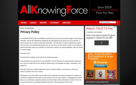 Screenshot of Privacy Page allknowingforce.com - All Knowing Force  » All Knowing Force Privacy Policy - captured Sept. 30, 2014