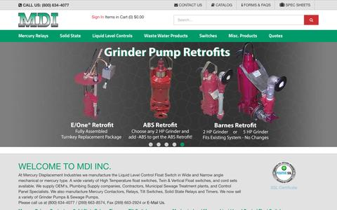 Screenshot of Home Page mdius.com - MDI, Michigan, Mercury Contactors, Relays, Liquid Level, Switches - captured Nov. 17, 2016
