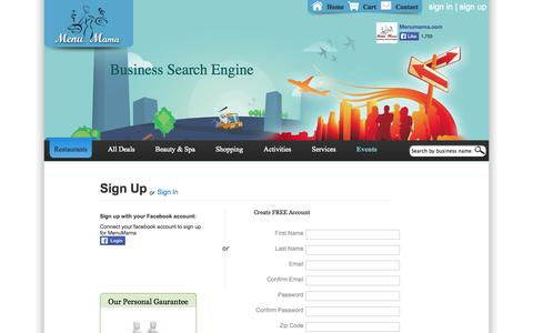 Screenshot of Signup Page menumama.com - Menu Mama - captured Oct. 27, 2014