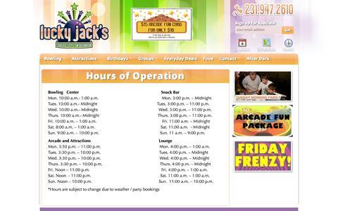 Screenshot of Hours Page luckyjacks.com - Lucky Jacks Hours | Lucky Jack's - captured Sept. 30, 2014