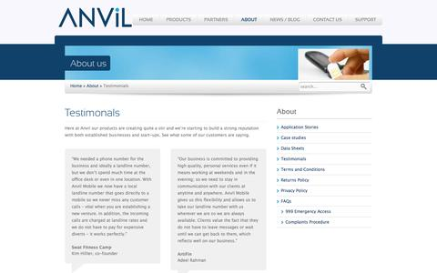 Screenshot of Testimonials Page anvilmobile.com - Testimonials - Anvil Mobile - Secure Data and Voice Communications - captured Oct. 4, 2014
