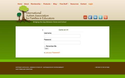 Screenshot of Login Page autismeducates.com - Login - captured Oct. 27, 2014