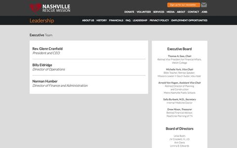 Screenshot of Team Page nashvillerescuemission.org - Leadership: Nashville Rescue Mission - captured Sept. 30, 2014